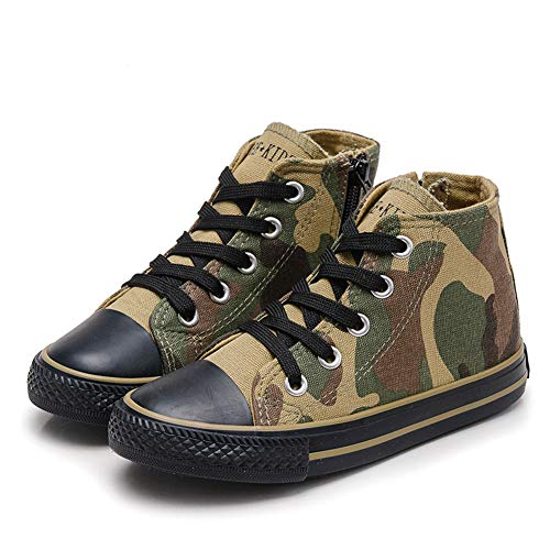 (Boy's Girl's High-Top Casual Lace up Canvas Sneakers, Camouflage, Big Kid, Size)