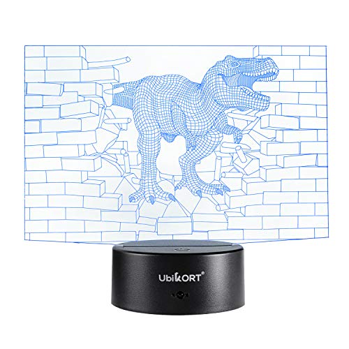 (UbiKORT Dinosaur Night Light for Kids, 3D Dinosaur lamp for Bedroom Decor and Great Birthday Gift, T-Rex Dinosaur Wall, 3D LED Illusion Lamp with 7 Colors Mode Smart Switch, Remote Control, USB Charge)