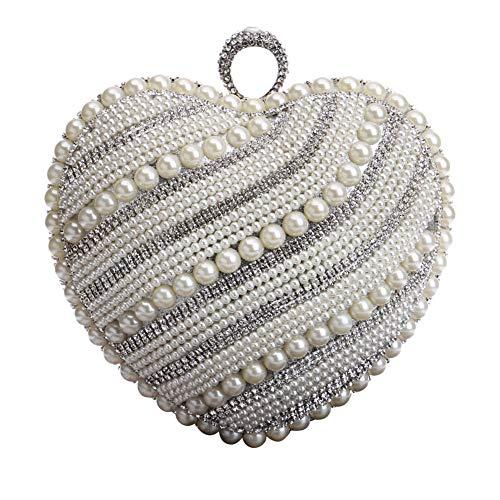 Sacs D'embrayage Dames Des Femmes Des Chaîne Robe Portefeuille Bourse Sacs De Soirée Perles De Bal De Mariage Gris