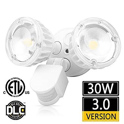 LEDMO 2500LM LED Security Lights, 30W Outdoor Motion Sensor Flood Lights, 5000K, IP65 Waterproof, Adjustable Head Flood Light for Entryways, Stairs, Yard and Garage