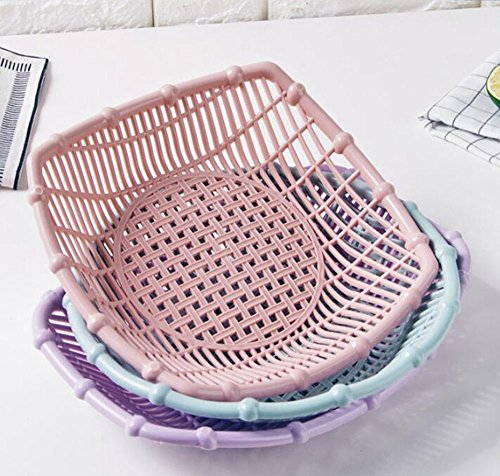 Simple Design Plastic Small Flat Picnic Fruit basket Food Storage Strainer Basket Shallow Filler Desk Tray Bin Vegetable Snack Organizer Holder Bowl Rack Container Display (Blue, Square)