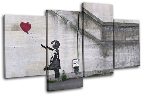 Bold Bloc Design - Balloon Girl Banksy Street 120x68cm MULTI Canvas Art Print Box Framed Picture Wall Hanging - Hand Made In The UK - Framed And Ready To Hang by Bold Bloc Design