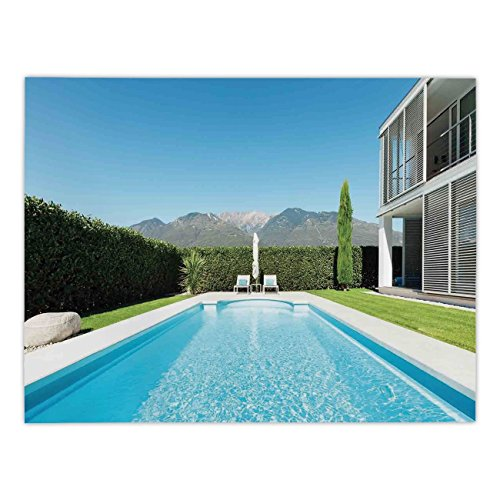 iPrint Polyester Rectangular Tablecloth,House Decor,Modern Villa with Pool view from the Garden Real Estate Contemporary Property,Dining Room Kitchen Picnic Table Cloth Cover,for Outdoor Indoor