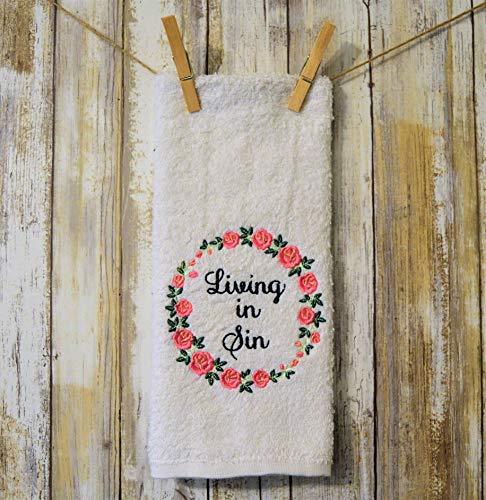- Funny Bathroom White Machine Embroidered Hand Towel Living in Sin