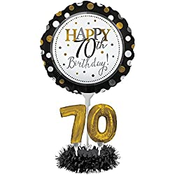 Happy 70th Birthday Balloon Centerpiece Black and Gold for Milestone Birthday