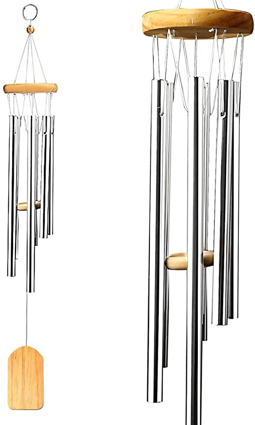 61cm Overall Length 5 Aluminum Tubes with 2 Free S Hooks Classic Wind Chime Windchimes Unique Outdoor Indoor wavraging Wind Chimes Outdoor