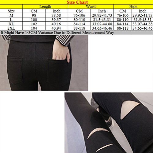 Zhhlaixing Casual mujeres embarazadas Pregnant Women Maternity Holes Pencil Pants Pregnancy Trousers High Waist Black