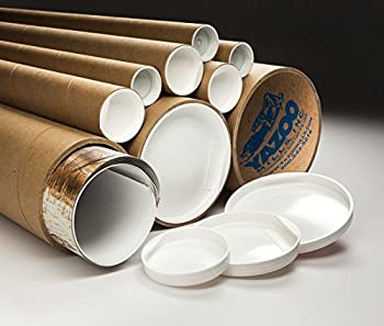 """Yazoo Mills 3"""" x .100 x 24"""" Kraft Mailing Tubes with Plugs (Pack of 20)"""
