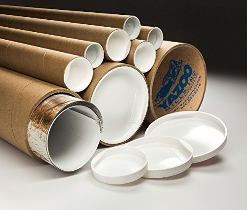 Yazoo Mills 6'' x .200 x 30'' Extra Heavy Duty Kraft Mailing Tubes with Plugs (Pack of 4) by YAZOO Mills