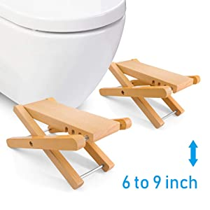 """Taillansin Squatting Toilet Stool Fodable Bamboo Wood Bathroom Poop Stool 6"""" 7"""" 8"""" 9"""" inch Adjustable for Adults Potty Step Stool for Toilet Posture and Healthy Release (One Pair)"""
