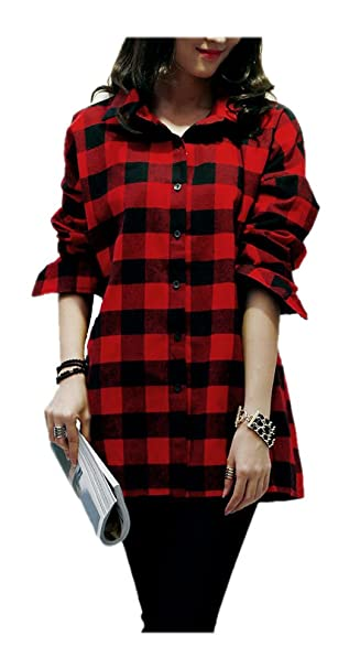 7e459d1710dc5 ARJOSA Women s Vintage Plaid Checked Button-Down Long Sleeve Flannel Shirts  (Black Red)