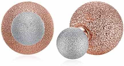 70479697a Two Tone Double Sided Earrings Shine Stardust Textured Balls Stud Earrings  for Women