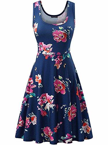 FENSACE Women's Tank Top Sleeveless Hot Red Floral Sun - Spot Dress A-line