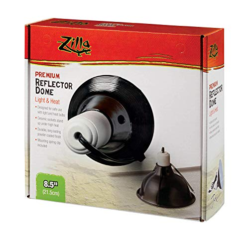 (Zilla Reptile Terrarium Heat Lamps and Habitat Lighting Dome, Black 8.5 Inch)