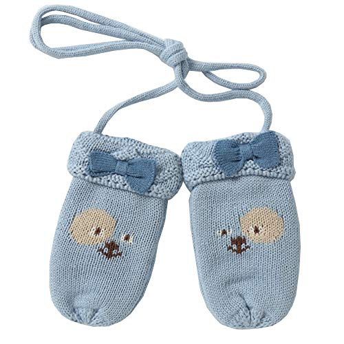 Child Knitting Gloves Autumn and Winter Double Layer Thicken Keep Warm Windproof Girl Cartoon Blue Bear Mittens, 2 Sizes (Size : 712CM)