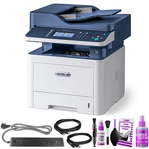Xerox WorkCentre 3335/DNI All-in-One Monochrome Laser Printer - with Extra Extension Cables - Surge Protector - Productivity Bundle ()