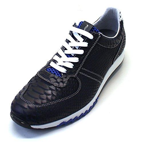 Floris van Bommel - Zapatillas de Piel para hombre azul Blau (navy snake combi) Blau (navy snake combi)