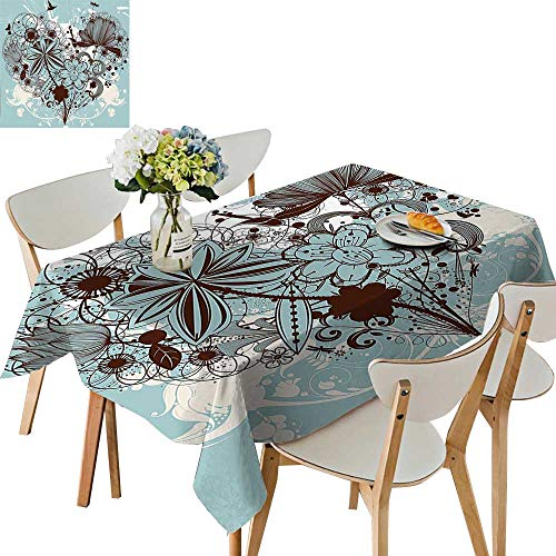 UHOO2018 Square/Rectangle Polyester Table Cloth Floral Dragonfly Background with Swirls and Petal Retro Graphic Light Blue Chestnut Brown Easy Care Spillproof,50x 50inch