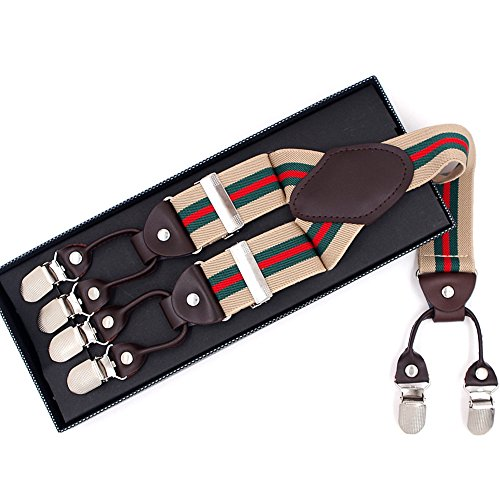Mens Dress Suspenders Wide Adjustable Elastic Braces Y Shape with Six Strong Clips (Khaki Green Red Stripe)