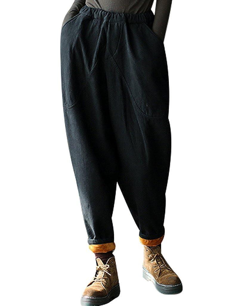 Youlee Donna Inverno Vita elastica Harem Pantaloni con Pile Youlee-0691-1