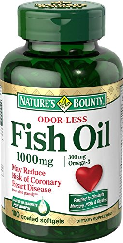 Nature's Bounty Omega-3 Fish Oil, Odorless, 1000mg, 100 Softgels Pack of 12 by Nature's Bounty