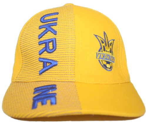 (Ukraine Yellow With Trident Soccer World Cup Kids Hat Cap .. Ages 6-10 Years Old.. New)