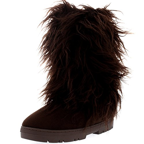 Womens Long Covered Rain Winter Warm Tall Snow Boots Brown