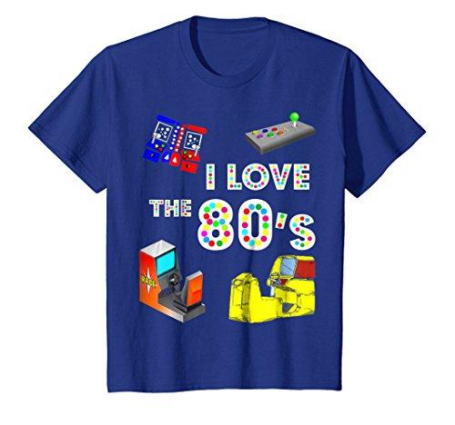 Kids I Love The 80s T-Shirt Eighties Kids Arcade Video Game Shirt 8 Royal Blue ()