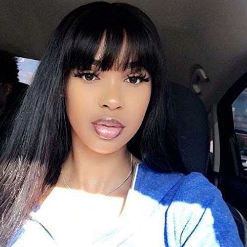 JNM Soft Hair 13x6 Lace Front Human Hair Wigs With Bangs For Black Women Remy Brazilian Human Hair Lace Front Wig Pre Plucked Bang 18Inch