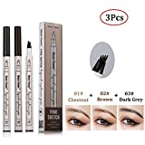 Music Flower Tattoo Eyebrow Pen with Four Tips and 3 Colors Long-lasting Waterproof Brow Gel for Eyes Makeup(3Pcs)