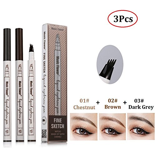 Microblading Pen Tat Brow Pen Tatbrow Microblade Pen with 4 Tips for Eyes Makeup to Create 3D Eyebrows(3Pcs)]()
