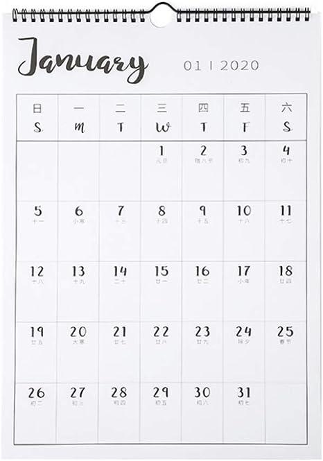 Calendario Mensual de Calendario de Pared 2020 de SmartPanda 2019-20