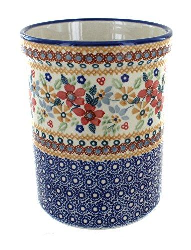 Blue Rose Polish Pottery Red Daisy Utensil Jar