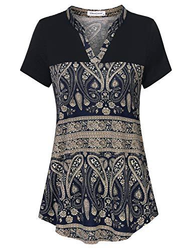 Liamluna Women's Henley V Neck Stitching Color Block Floral Tunic Shirt Blue L