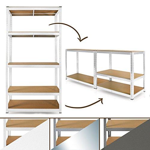 Schwerlastregal System | Farbe wählbar | Steckregal, auch als Werkbank aufstellbar | ideales Werkstattregal / Kellerregal | 180x90x40cm (weiß)