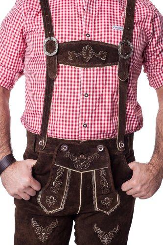 Mens Bavarian Trachten Lederhosen Brown Leather Shorts//Oktoberfest