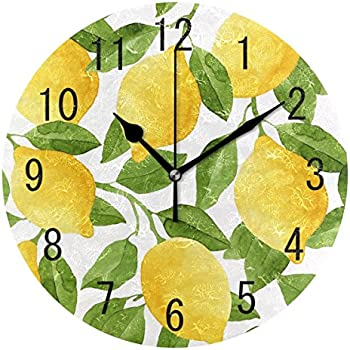 ALAZA Home Decor Watercolor Lemon Fruit Summer 9 inch Round Acrylic Wall Clock Non Ticking Silent Clock Art for Living Room Kitchen Bedroom
