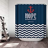 "Anchor Shower Curtain Ezlif Nautical Anchor Shower Curtain, Blue and White Strip Anchor The Soul, 70"" x 70"" Polyester Fabric Waterproof Bathroom Shower Curtains Liner with 12 Rust Proof Hooks"