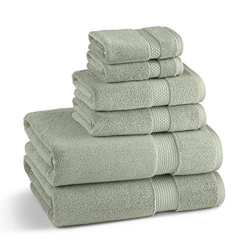 Kassatex Monarch 18 Piece Towel Set: 6 Bath, 6 Hand, 6 Washcloth - 100% Turkish cotton - Eucalyptus (Towels Gram 800)