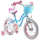 "Royalbaby star-girl girl's kids children bike in colour blue and rose, in size 12"" 14"" 16"" with stabilisers and basket."