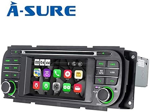 ASURE Car DVD Player Touch Screen GPS Navigation Bluetooth Multimedia Stereo in Dash Radio for Jeep Grand Cherokee Dodge RAM Sebring V3CGC