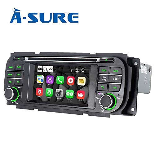 ASURE Car Radio CD DVD Player Bluetooth GPS Navigation InDash Car Stereo for Jeep Grand Cherokee Wrangler Liberty Dodge RAM Chrysler Sebring, Free 16G Map Card (Jeep Cherokee Stereo System)