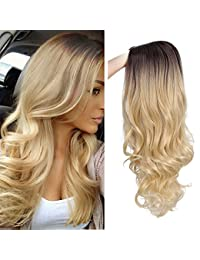 Ombre Long Curly Wig 2 Tone Blond Synthetic Party Wigs for Women Middle Part Full Wigs with Heat Resistant Fiber Cosplay Wigs