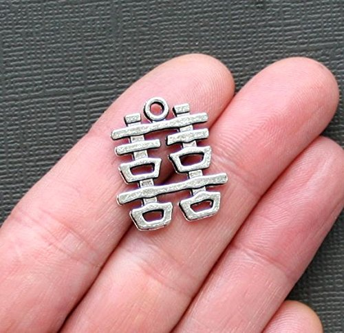 4 Happiness Charms Antique Silver Tone Chinese Symbol Double Happiness Jewelry Making Supply Pendant Bracelet DIY Crafting by Wholesale Charms