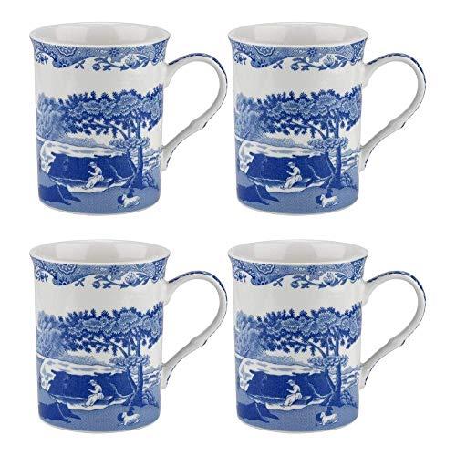 Spode Blue Italian Set of 4 Large Mugs, 340ml / 12oz | Iconic Traditional English Design | Finest Quality Porcelain