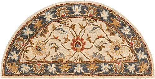 2' x 4' Half Moon Shaped Surya Accent Rug CAE1125-24HM Twill Color Hand Tufted in India