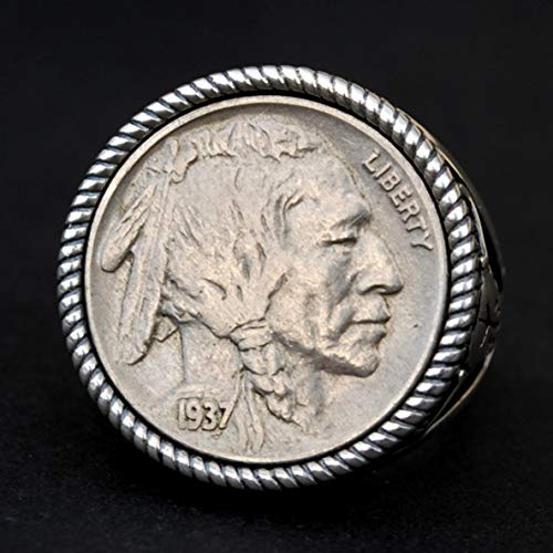 US 1937 Indian Head Buffalo Nickel AU Coin 925 Sterling Silver Signet Ring NEW - Buffalo Skull Design - Size US 9.5