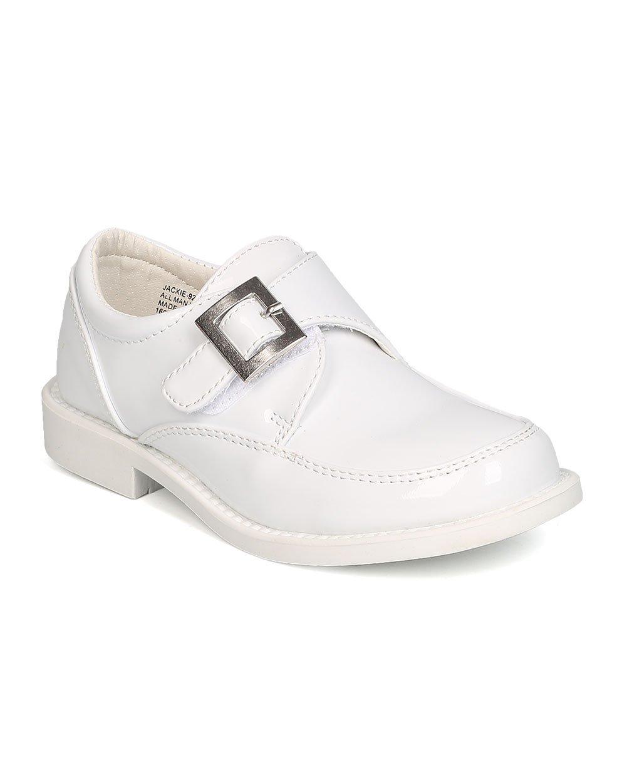Auston Boys Patent Leatherette Single Buckle Hook and Loop Uniform Shoe GB33 - White (Size: Little Kid 12)