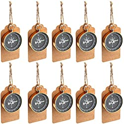 PartyTalk 50pcs Compass Wedding Favors for Guests, Compass Souvenir Gift with Kraft Tags for Travel Themed Party Decorations Nautical Christmas Ornaments