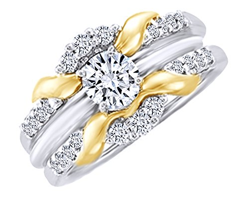(White Natural Diamond Two Tone Enhancer Guard Ring in 14k White Gold (0.33 Cttw) Ring Size - 7)